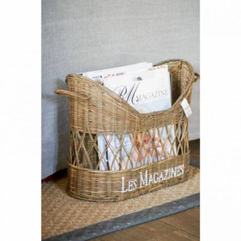 Rustic Rattan French Magazine Holder