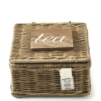 Rustic Rattan Tea Box M